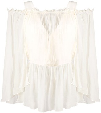 Alberta Ferretti Sheer Off-Shoulder Blouse