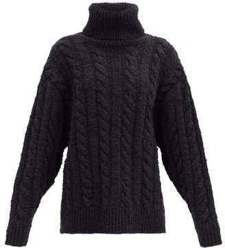 Dolce & Gabbana Roll-neck Cable-knit Wool-blend Sweater - Black