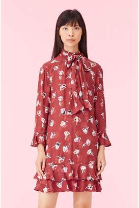 Rebecca Taylor Ikat Paintbrush Ruffle Dress