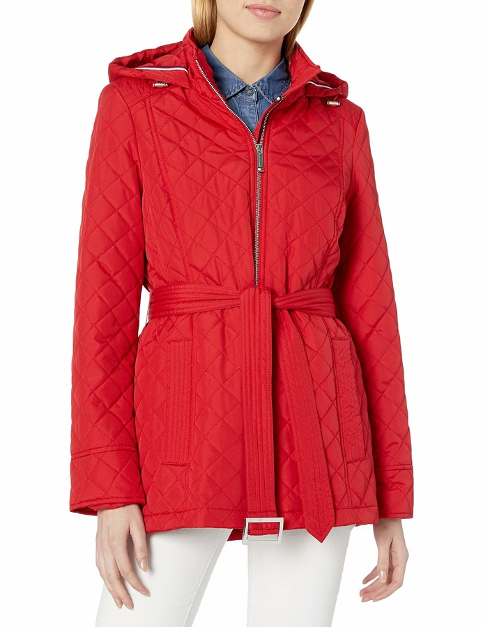 Tommy Hilfiger Womens Hooded Diamond Quilt Jacket with Belt