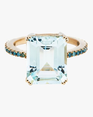 Yi Collection Aquamarine And Blue Diamond Ring