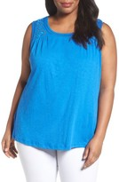Plus Size Women's Caslon Mixed Media Tank