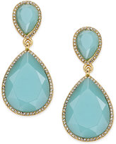 ABS by Allen Schwartz Gold-Tone Blue Stone and Pavé Drop Earrings