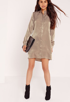 Missguided Satin Shirt Dress Nude