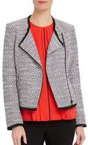 Ellen Tracy Petite Trompe Loeil Garden Petite Asymmetrical Moto Jacket