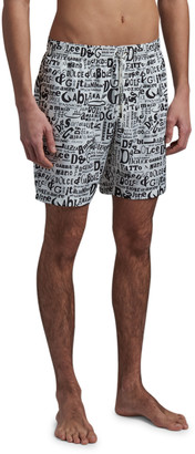 Dolce & Gabbana Men's Scribble-Print Long Swim Trunks