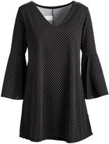 Glam Black & White Pin Dot Bell-Sleeve V-Neck Tunic