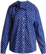 Marni Ruffled-collar fleck-print cotton shirt