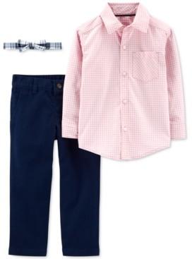 Carter's Toddler Boys 3-Pc. Cotton Gingham Shirt, Solid Pants & Plaid Bow Tie Set
