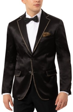 Tallia Men's Slim-Fit Black Sport Coat with Gold-Tone Taping