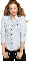 GUESS? Top, Long Sleeve Button Down