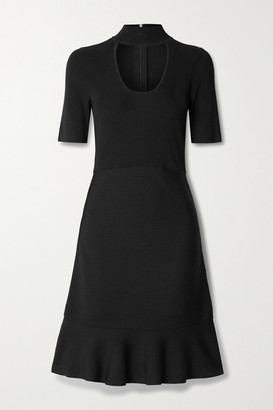 MICHAEL Michael Kors Cutout Ribbed Stretch-knit Mini Dress - Black