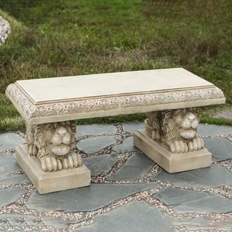 Astoria Grand Raguel Lion Stone/Concrete Garden Bench