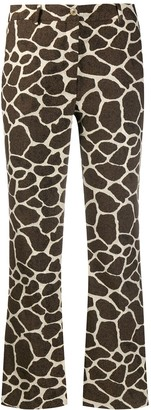 Pt01 Animal Print Flared Trousers