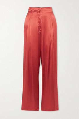 Le Kasha Sansha Silk-satin Wide-leg Pants - Papaya