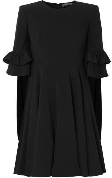 Alexander McQueen Ruffle-trimmed Crepe Mini Dress - Black