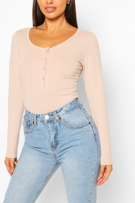 boohoo Petite Button Detail Long Sleeve Rib Bodysuit