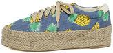 Qupid Luana Blue Print Espadrille Flatform Sneakers