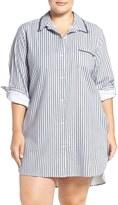 DKNY Long Sleeve Flannel Sleep Shirt (Plus Size)