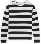 The Elder Statesman Striped Cashmere And Linen-blend Sweater - Black