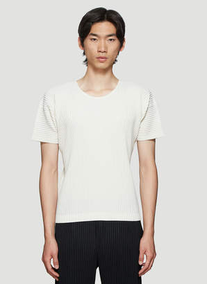 Issey Miyake Homme Plissé Basic Pleated T-Shirt in White