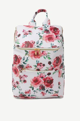 Ardene Faux Leather Floral Zipped Backpack
