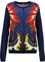 Roberto Cavalli Paneled Printed Silk-Blend Satin And Wool-Bend Cardigan