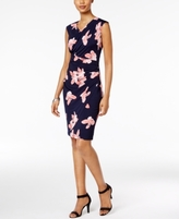 Connected Petite Floral-Print Faux-Wrap Sheath Dress