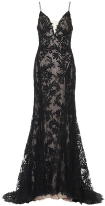 Monique Lhuillier Floral lace gown