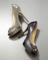 Jimmy Choo Crown Glittered Peep-Toe Platform Pump