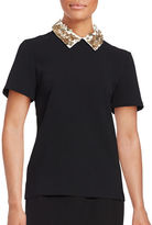 Trina Turk Sequin-Accented Collar Short Sleeved Top