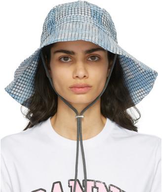 Ganni Blue Check Seersucker Hat