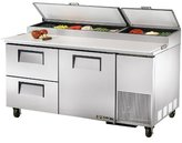 True TPP-67D-2 Solid Door and Drawer Pizza Prep Table