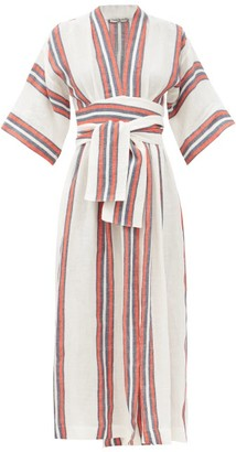 Three Graces London Charita V-neck Striped Linen Wrap Dress - Red Stripe