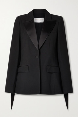 Michael Kors Collection Satin-trimmed Fringed Crepe Blazer - Black