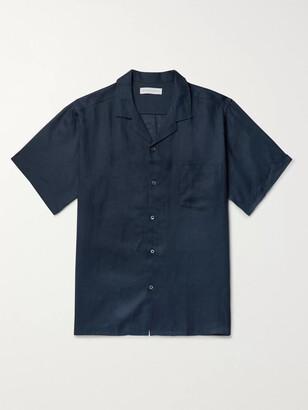 Desmond & Dempsey Camp-Collar Linen Pyjama Shirt