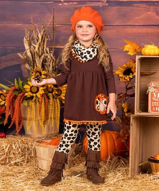 Mia Belle Girls Girls' Leggings Brown - Burgundy & Orange Turkey Pom-Pom Tunic Set - Toddler & Girls