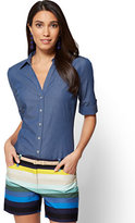 New York & Co. 7th Avenue - Madison Stretch Shirt - Ultra-Soft Chambray - Medium Blue