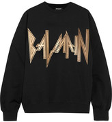 Balmain Oversized Printed Cotton-jersey Sweatshirt - Black