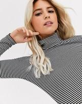 New Look stripe rib roll neck in black pattern