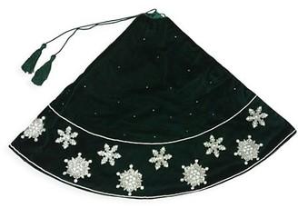 Sudha Pennathur Snowflake Beaded Hand Embroidered Velvet Tree Skirt