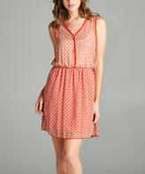 Red Geometric A-Line Dress