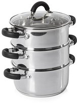 Tower Essentials 3-Tier Steamer with Polished Mirror Finish, 18 cm Diameter, Stainless Steel
