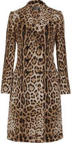 Dolce & Gabbana Double-breasted Leopard-jacquard Coat - Brown