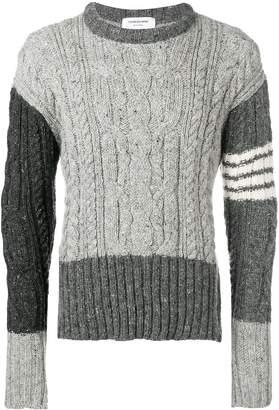 Thom Browne 4-bar Aran Cable Mohair Pullover