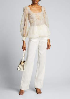 Brock Collection Floral Silk Oversize Long-Sleeve Scoop-Neck Top