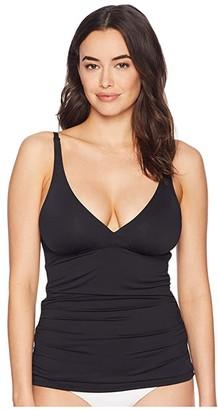 Tommy Bahama Pearl Over the Shoulder V-Neck Long Tankini (Black) Women's Swimwear