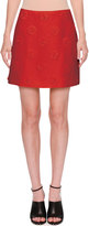 Valentino Daisy Crepe Couture Skirt, Red
