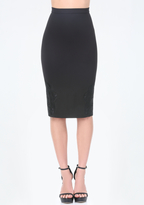 Bebe Embroidered Hem Midi Skirt