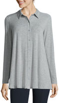 Liz Claiborne Long-Sleeve Button-Front Tunic